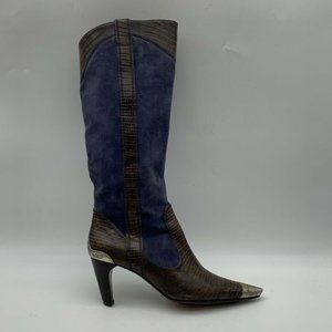 J Vincent Womens Cowboy Boots Blue Pull Ons Size 7